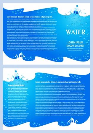 brochure folder water aqua splash bootle element design / cmyk, no transparent