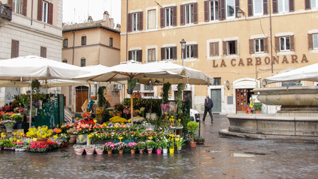 Campo de Fiori, meaning field of flowers, is one of the main and lively squares of Rome