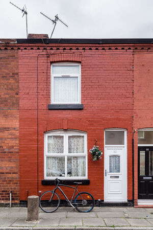 Liverpool, United Kingdom: August 02, 2018: Childhood home of Geroge Harrison in Arnold Crove street in Liverpool, Uk