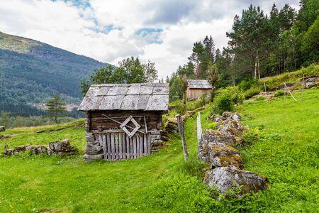 Nesheim Farmstead called Nesheimtunet near Voss with old wooden farm buildings in Norway. Part of Voss Folke museum.