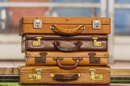 Foto per Pile of vintage brown leather suitcases - Immagine Royalty Free