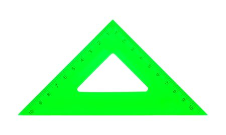 Photo pour Science and education - Green set square triangle isolated on a white background. - image libre de droit