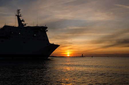 Photo pour PASSENGER FERRY - The ship is going on a voyage to sea - image libre de droit