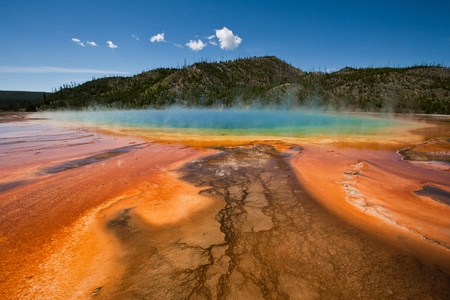 Colorful pools and formations of the Grand Prismatic Springs in Yellowstone National Park