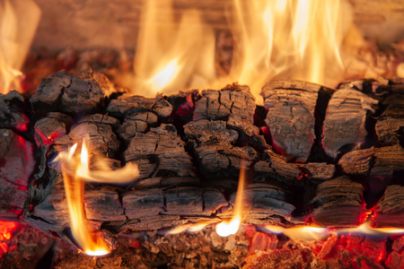 Photo for Burning log of wood in a fireplace close-up - Royalty Free Image
