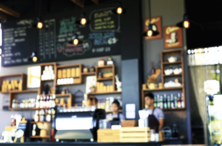 Blur or Defocus image interior of Coffee Shop for use as Background