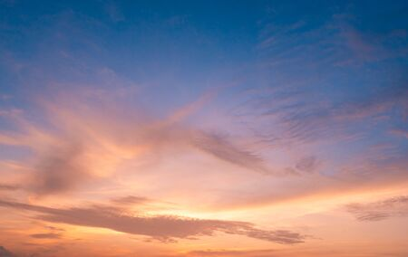 Foto de beautiful of Stratus cloud in sunset background for forecast and meteorology concept - Imagen libre de derechos