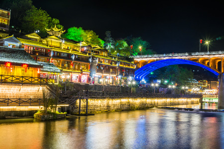 Feng Huang at night, the most famous ancient town in Hunan province, China.