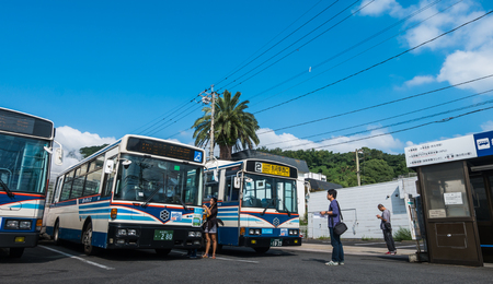 Beppu, Japan - September 28, 2014: Kannawa Bus terminal in the morning. Kannawa district is a city in Beppu, Japan. Beppu is a city located in Oita Prefecture on the island of Kyushu, Japan, at the west end of Beppu Bay.