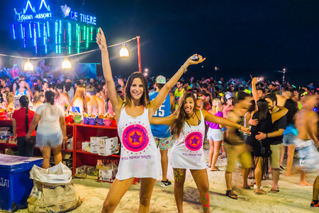 Koh Phangan, Thailand - October 8, 2014: The Full moon party at Haad Rin, Koh Phangan, Thailand. The Full Moon Party is an all-night beach party that originated in Haad Rin on the island of Ko Pha Ngan, Thailand on the night of, before or after every full