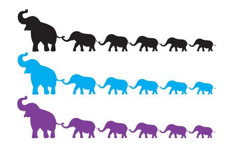 Ilustración de Elephant Family walk - Imagen libre de derechos