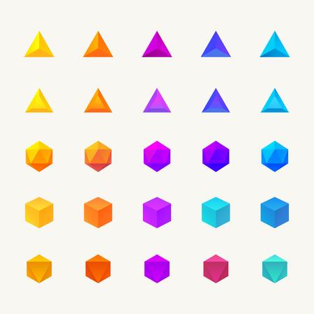 Illustration pour Polygon 3d objects set. Vector icons - image libre de droit