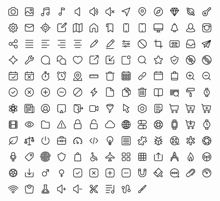 Ilustración de Outline vector icons for web and mobile. 152 glyph - Imagen libre de derechos