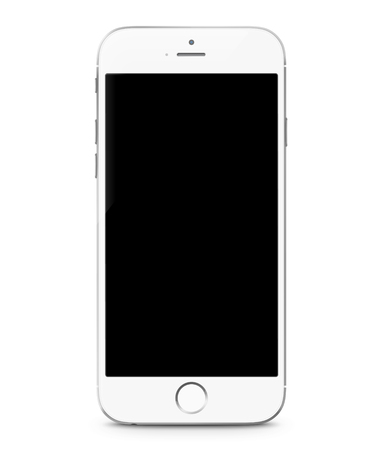 Illustration for Smartphone realistic vector illustration. Mobile phone mockup with blank screen isolated on white background - Royalty Free Image