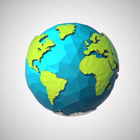 Ilustración de Earth illustration in Low poly style. Polygonal globe icon. Vector isolated - Imagen libre de derechos