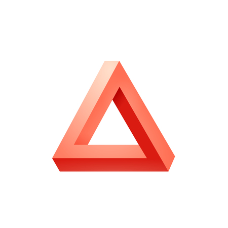 Ilustración de Penrose triangle icon. Impossible triangle shape. Optical Illusion. Vector Illustration isolated on white - Imagen libre de derechos