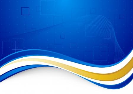 Blue communicational background with golden border illustration