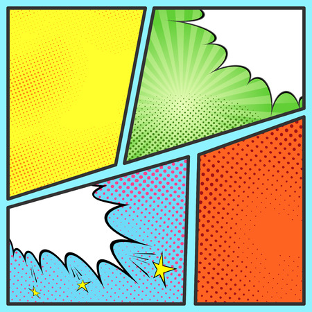 Pop-art comic page sheet template - with collection of beam and dot backgrounds