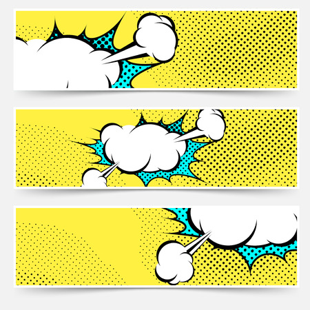 Pop-art comic book explosion card collection. Vector illustration