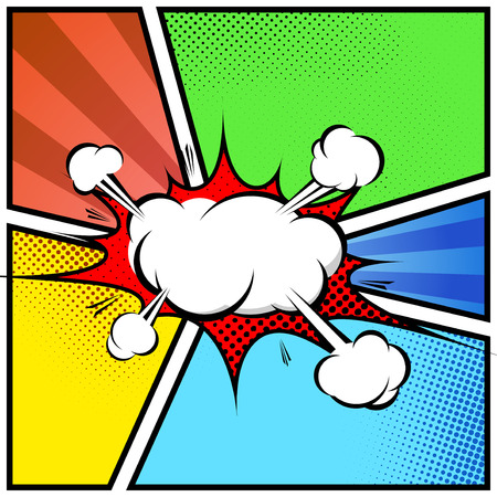 Explosion cloud abstract comic book style frame page template.
