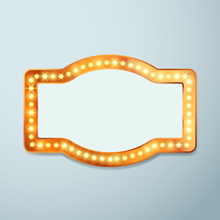 Retro bulb circus cinema light sign template - vintage old frame theater casino or circus illuminated banner. Vector illustration