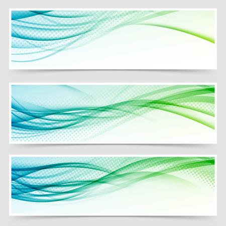 Bright eco swoosh line header web set. Vector illustration