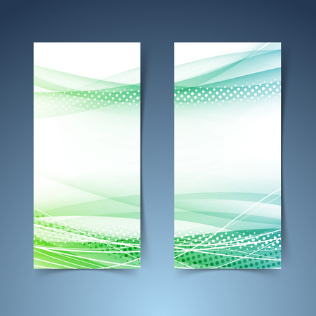 Illustration for Bright green vertical web banner collection. - Royalty Free Image