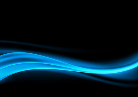 Illustration pour Abstract blue swoosh smoke wave design element over dark background. Vector illustration - image libre de droit