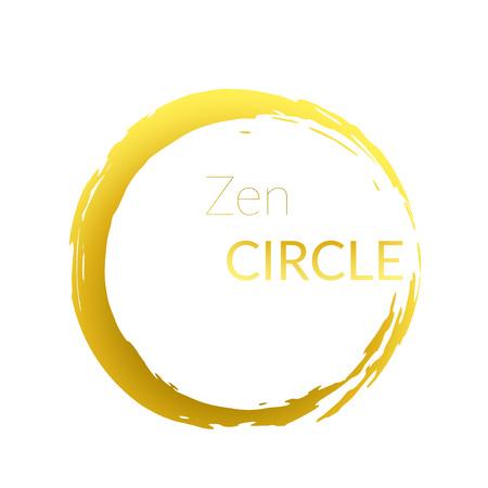 Ilustración de Modern abstract golden brush painted circle over white background. Graphic metallic gold gradient isolated round cut-out shape design. Vector illustration - Imagen libre de derechos