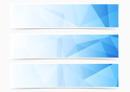 Ilustración de Modern web blue crystal pattern header collection set. Vector illustration - Imagen libre de derechos