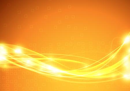 Illustration for Bright orange background with transparent futuristic wave design. Vector illustration - Royalty Free Image