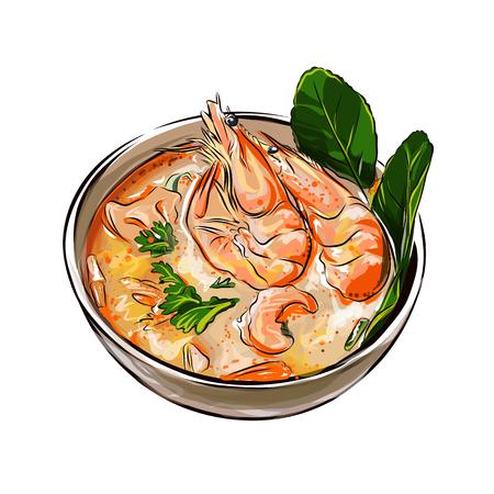 Ilustración de Tom yam soup Thai food with shrimps vector illustration - Imagen libre de derechos