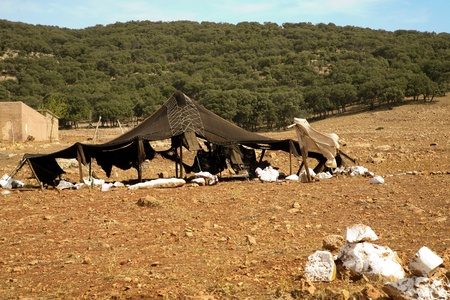 Poverty in morocco - tent of berbers in the moroccan countryside