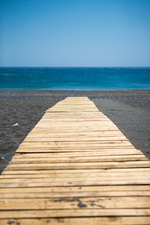 Traditional wooden walkway t