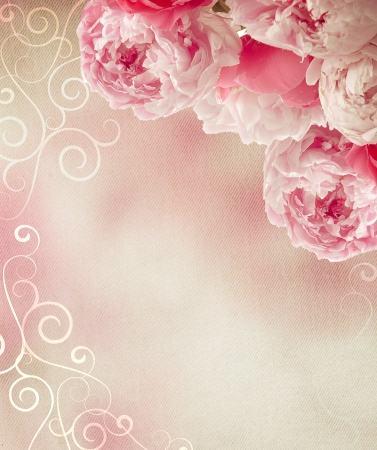Photo for Vintage peonies on canvas background with a retro feel  Great as a greetings card or for a love message  - Royalty Free Image