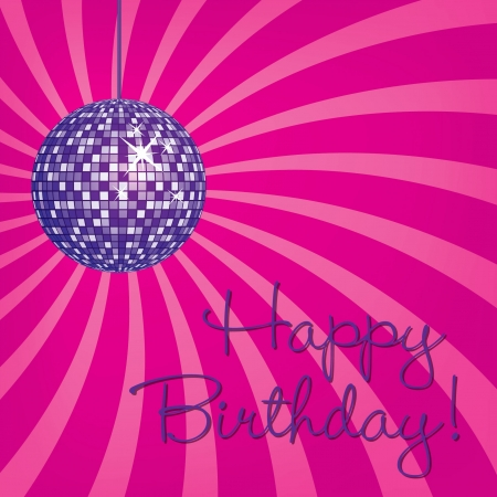 Purple disco ball Happy Birthday card in vector format