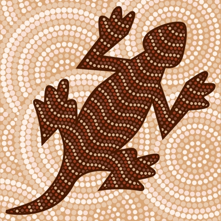 Abstract Aboriginal lizard dot painting