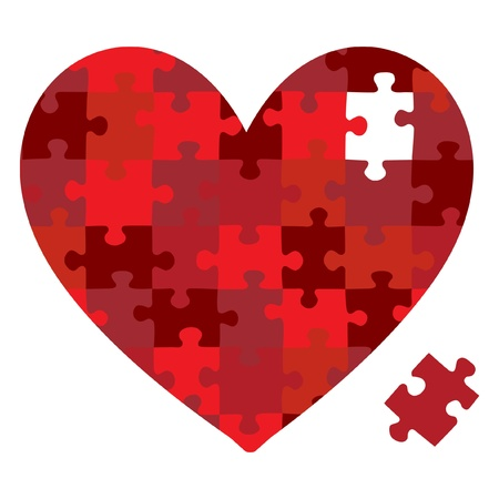 Heart jigsaw puzzle in vector format
