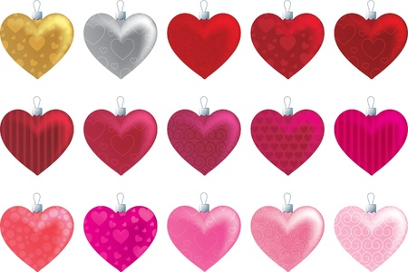 Patterned heart ornaments in a variety of reds and pinks