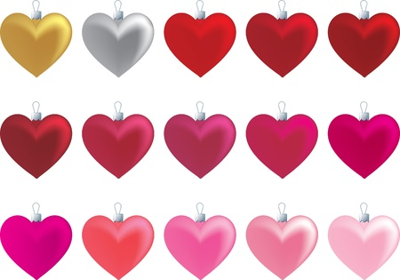 Plain heart ornaments in a variety of reds and pinks