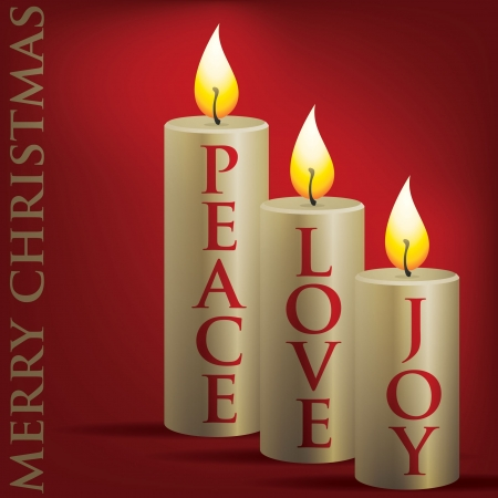 Merry Christmas Peace, Love, Joy candle card
