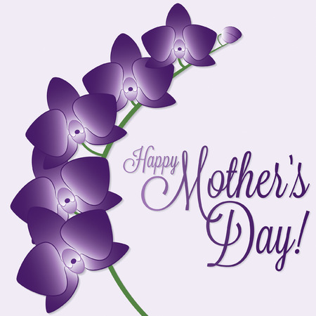 Orchid Mother s Day card in vector format