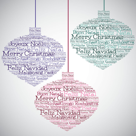 Merry Christmas In Different Languages.Christmas Bauble Made From Merry Christmas In Different