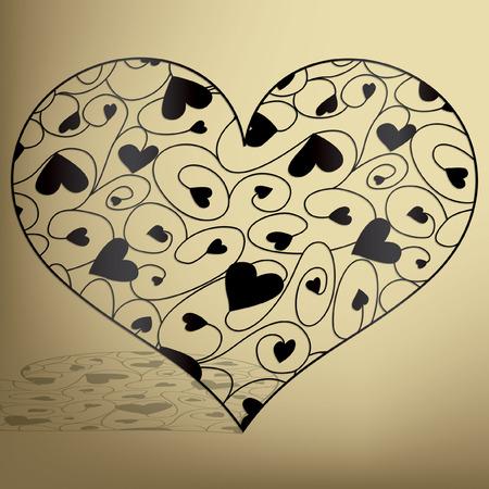 Elegant filigree heart in vector format.