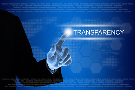 business hand pushing transparency button on a touch screen interface