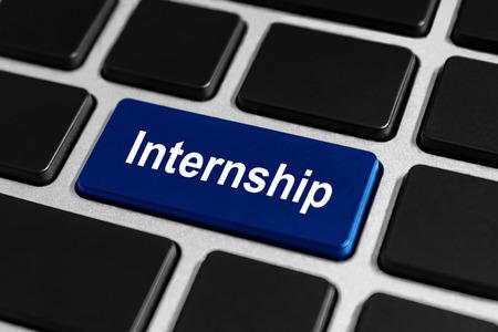 internship blue button on keyboard, business concept