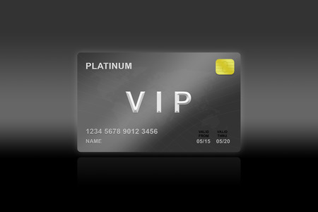 VIP or very important person platinum card on black background