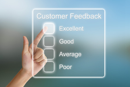 Photo pour hand clicking customer feedback on virtual screen interface - image libre de droit