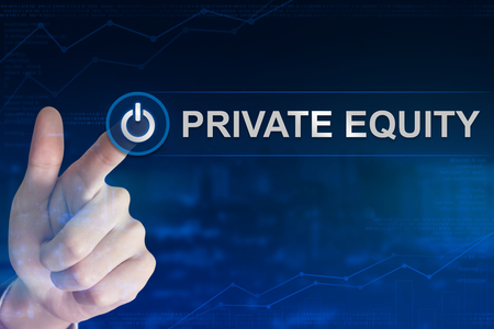 double exposure business hand clicking private equity button with blurred background