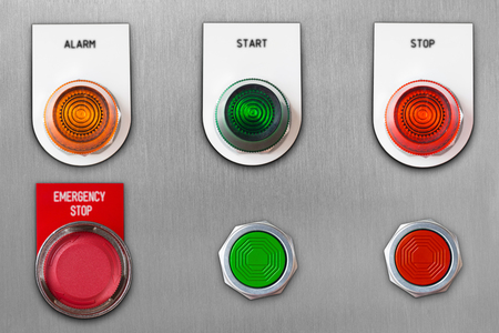 Photo pour Push button switch with emergency stop and start stop alarm lamp signal on stainless steel panel wit clipping path - image libre de droit